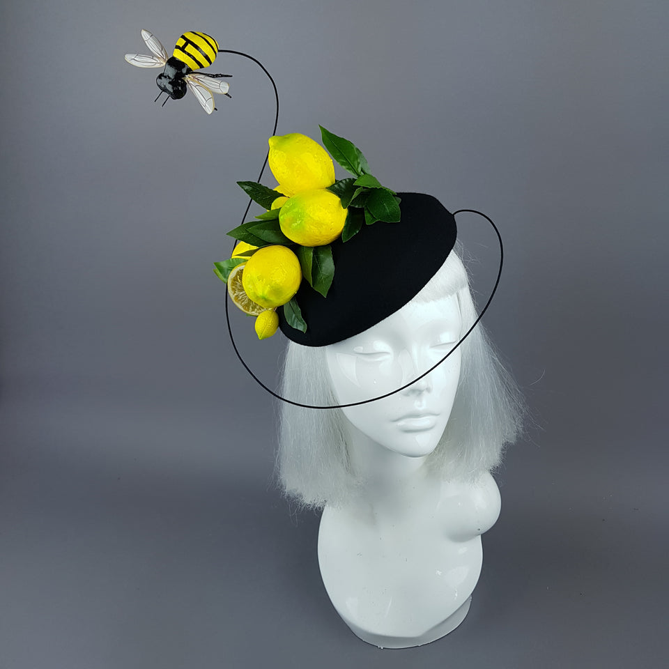 """Amarillo"" Lemon & Bee Fascinator Hat"