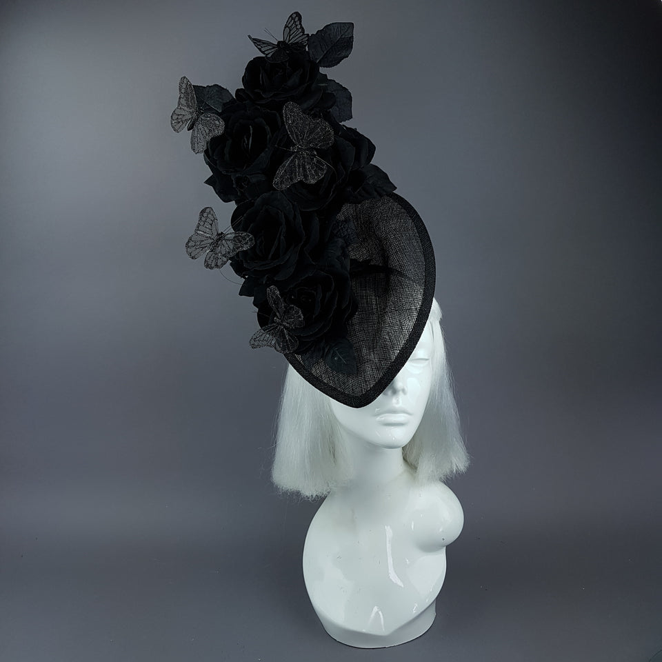 """Kiara"" Black Rose & Butterfly Fascinator Hat"