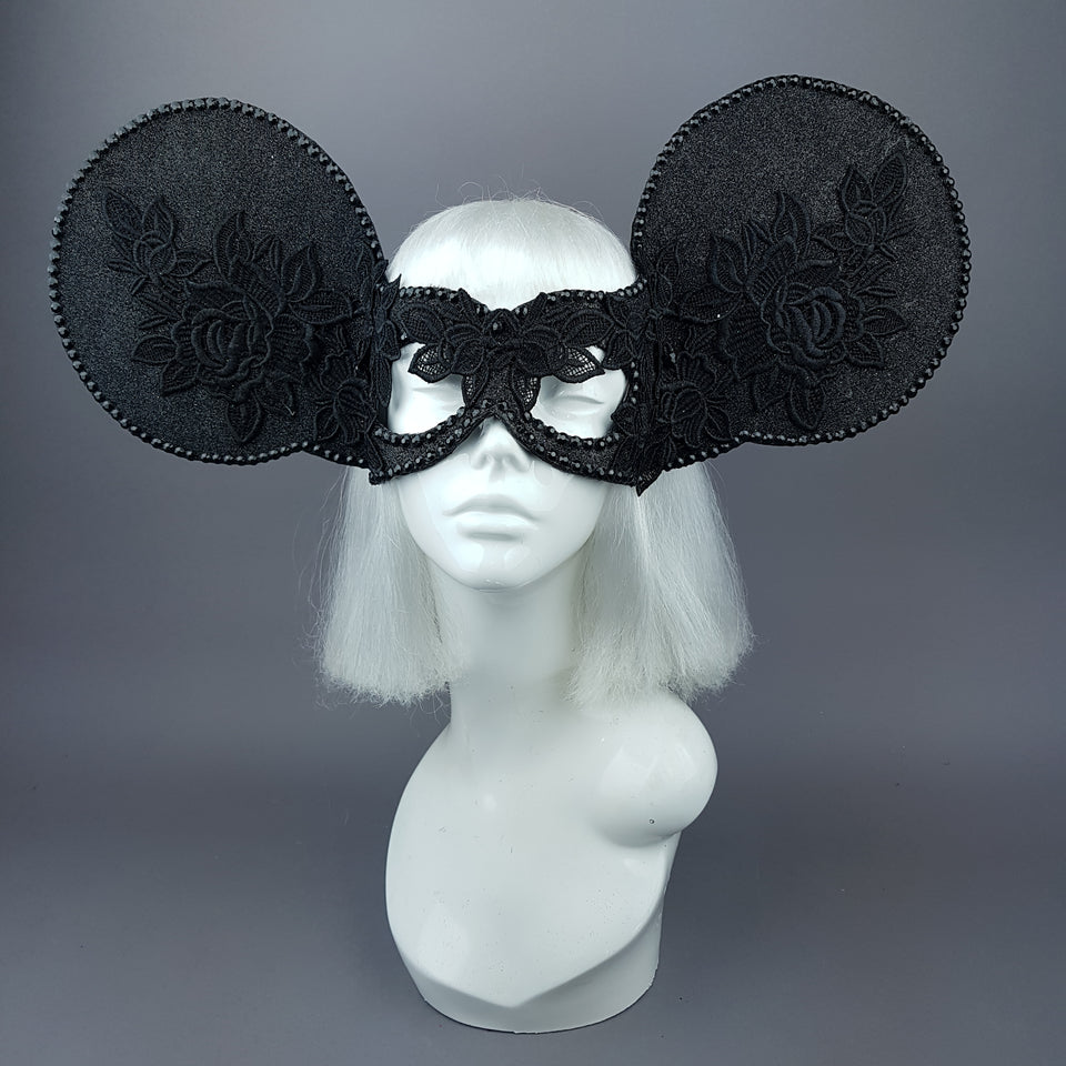 """Kiore"" Black Giant Mouse Ears Mask"