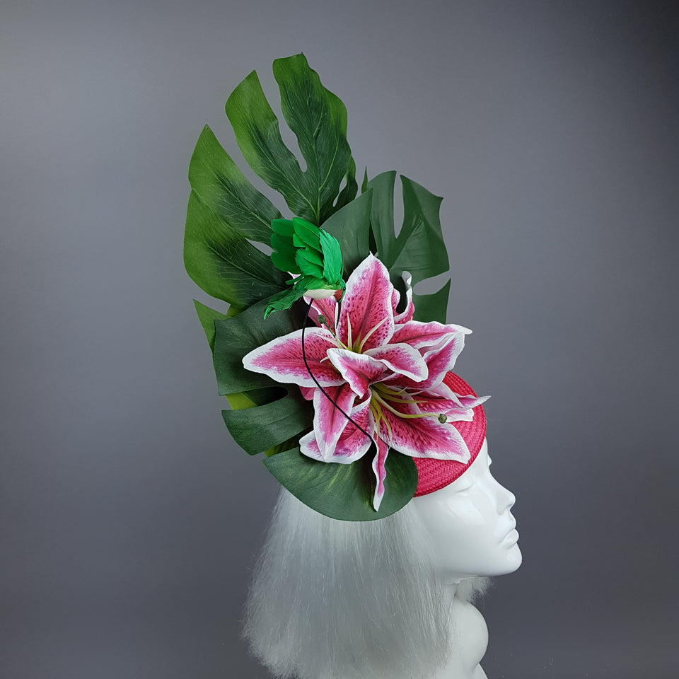 """Vuelo"" Tropical Lily & Hummingbird Fascinator Hat"