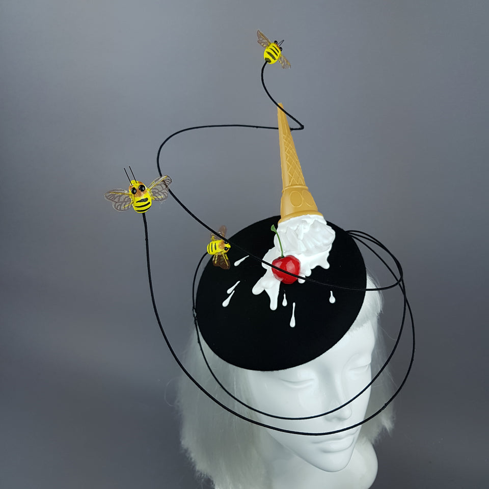 """Whoopsie"" Dropped Ice-Cream & Bee Fascinator Hat"
