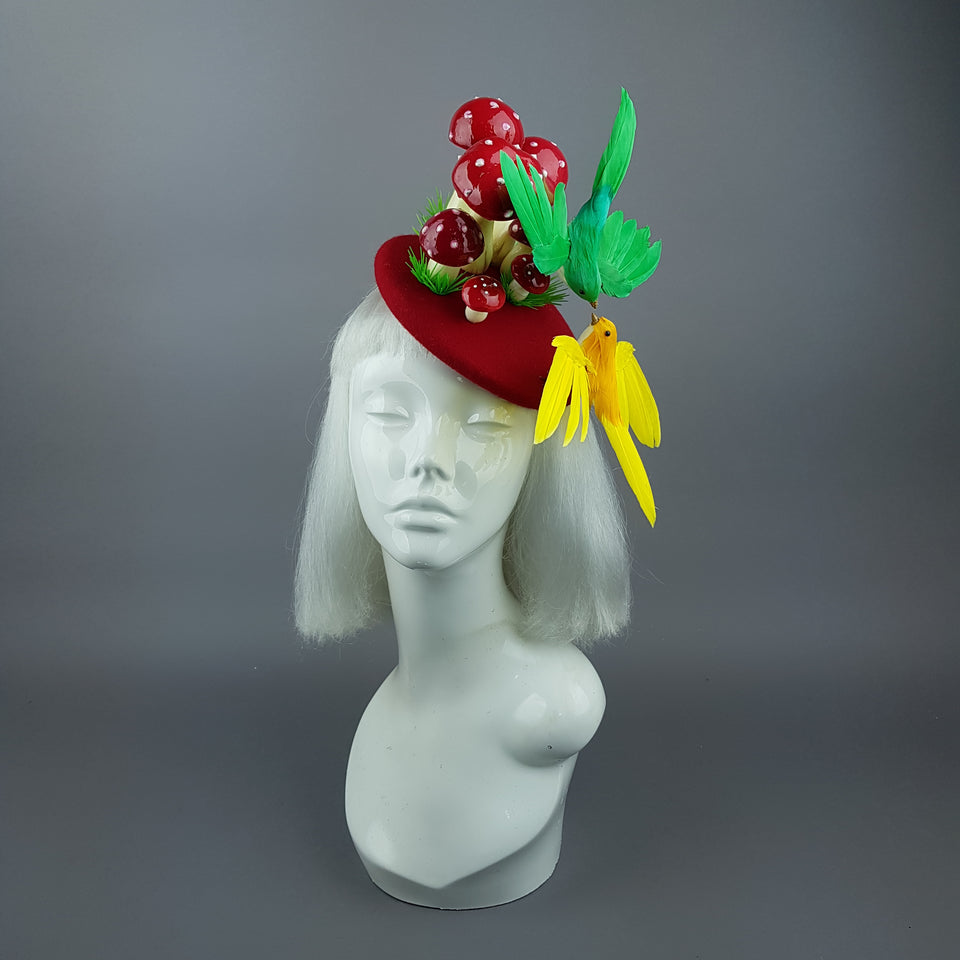 """Soen"" Kissing Birds & Mushrooms Fascinator Hat"