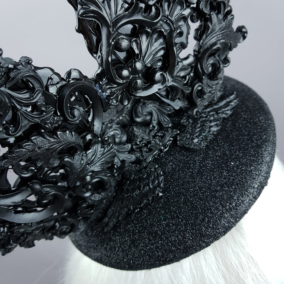 """Bunnygirl"" Black Filigree Baroque Bunny Rabbit Ears Hat"