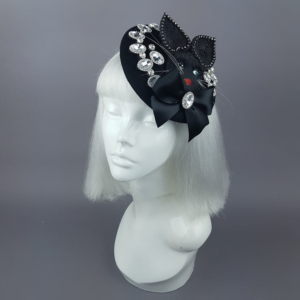 """Sootie"" Bejewelled Black Dollface Cat Fascinator Hat"