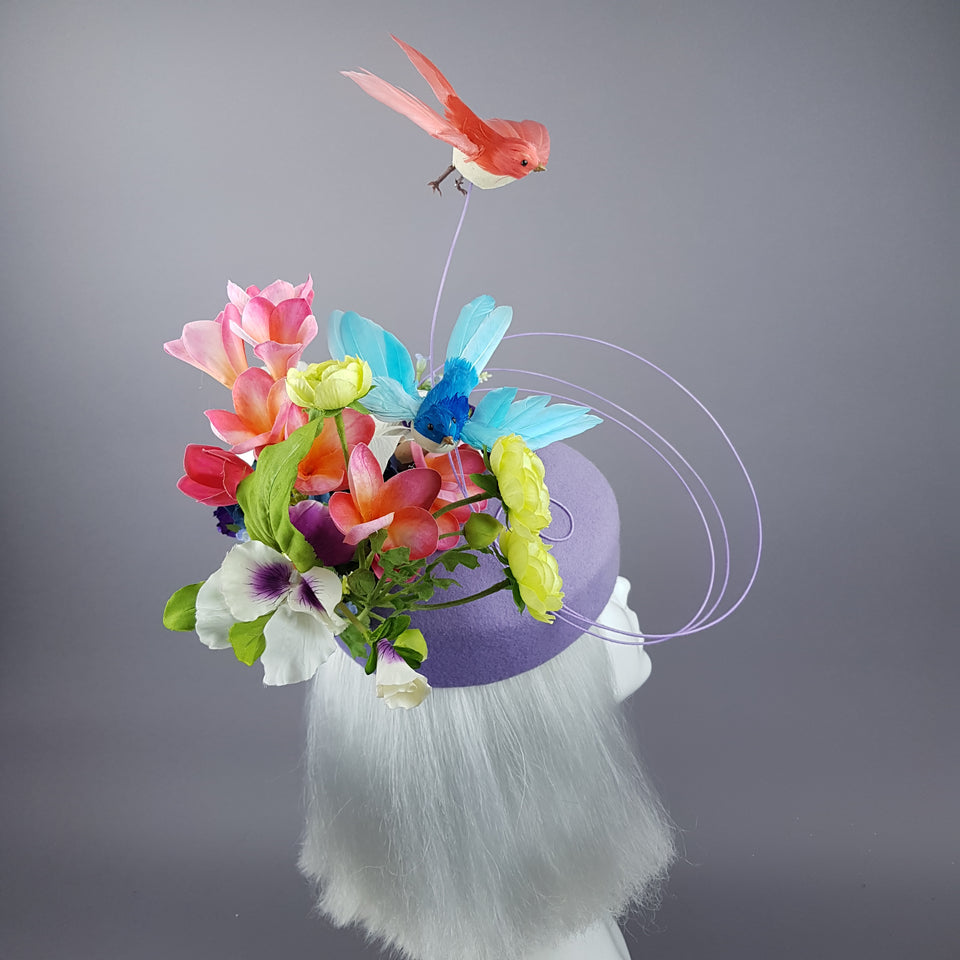 """Azalea"" Bird & Flower Purple Fascinator Hat"
