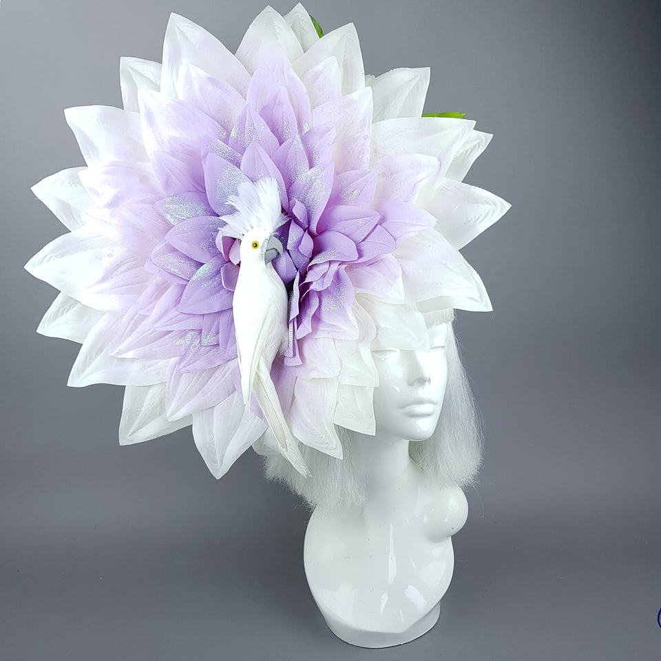 """Marin"" Giant Purple Flower & White Bird Hat"