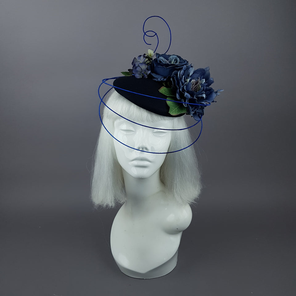 """Radella"" Blue Flower & Wired Veil Fascinator Hat"