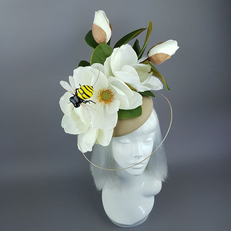 """Tania"" Ivory Magnolia Flowers & Bee Fascinator"