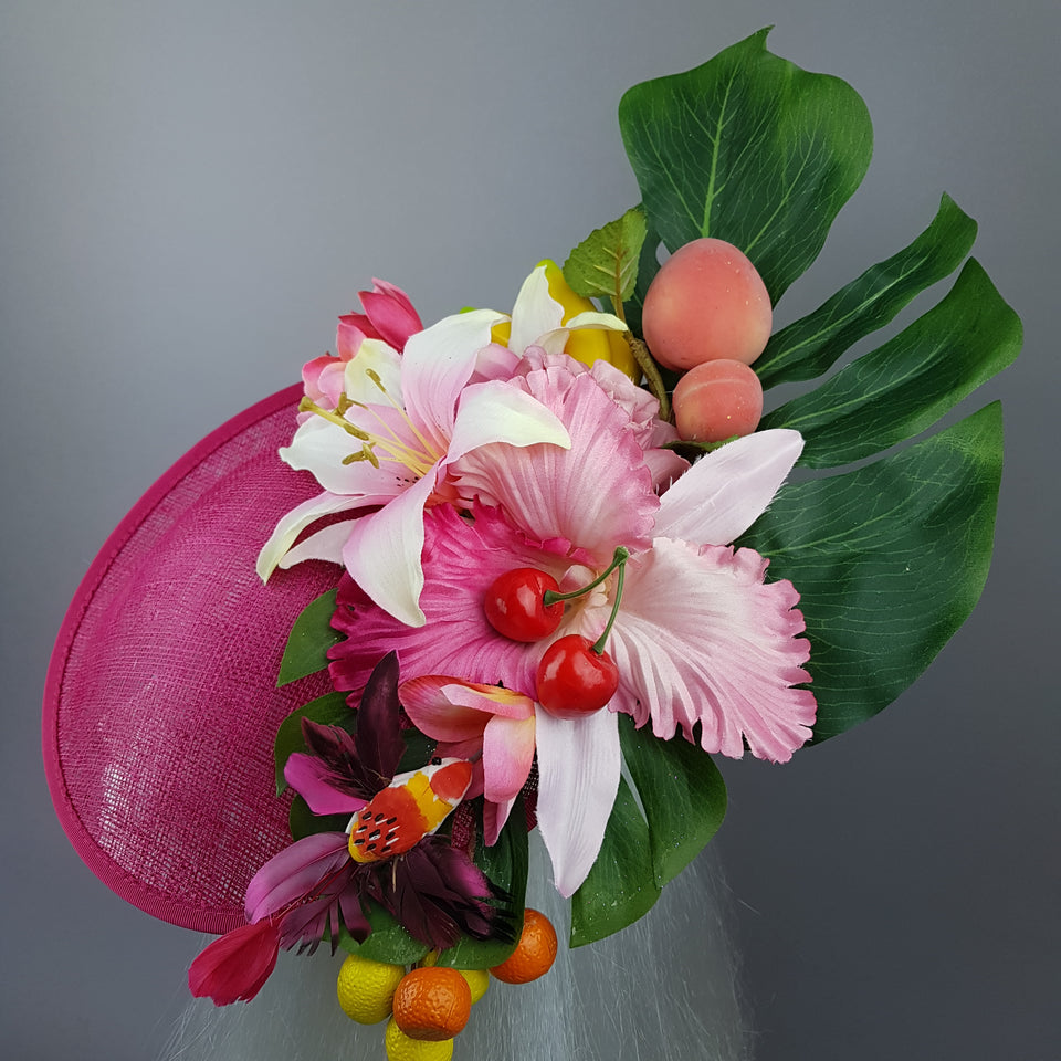 """Dulcina"" Fuchsia Pink Flower & Fruit Ascot Wedding Hat"