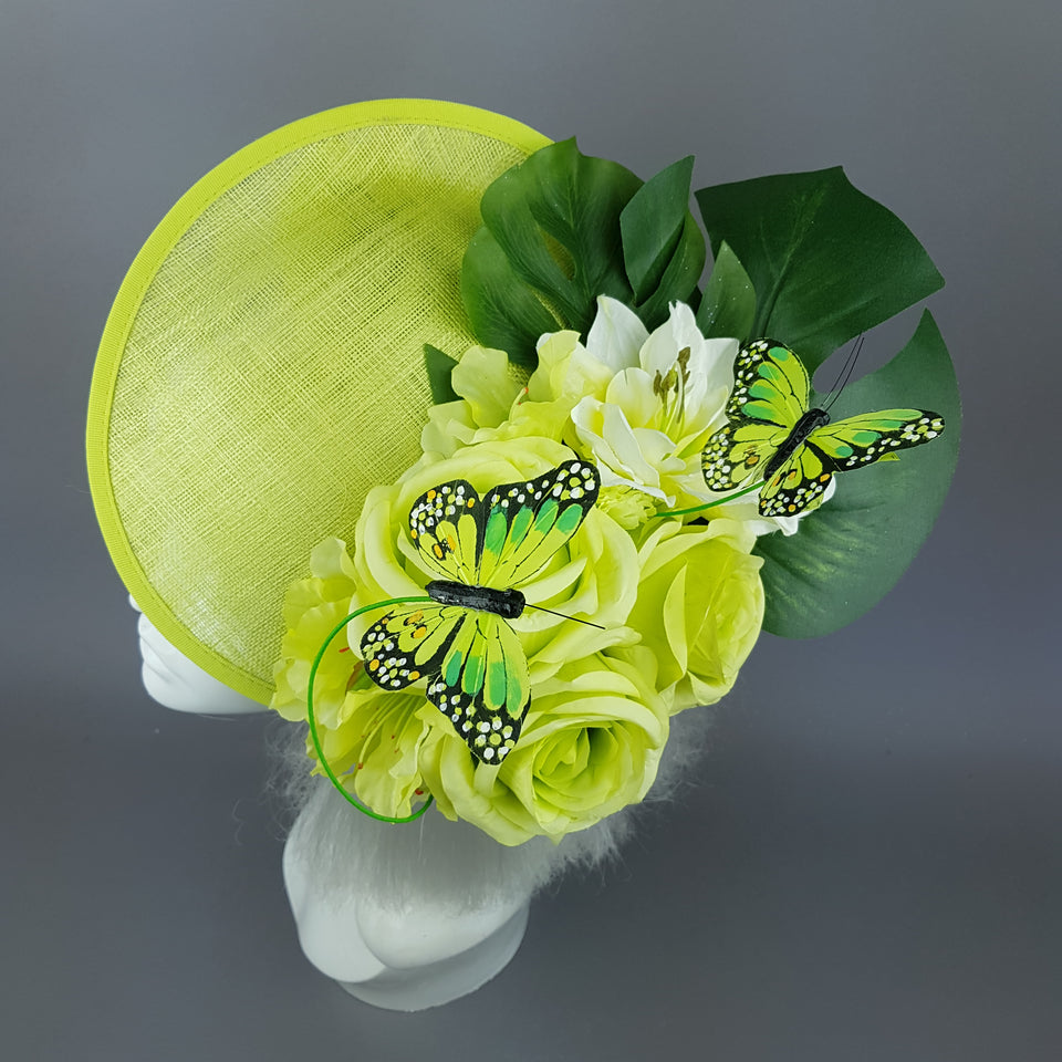 """Amour de Chaux"" Neon Lime Green, Flower & Butterfly Ascot Wedding Hat"