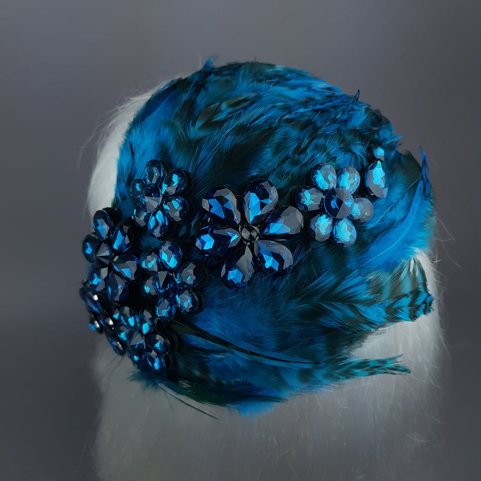 """Plume in Blue"" Vintage Inspired Feather & Jewel Fascinator"