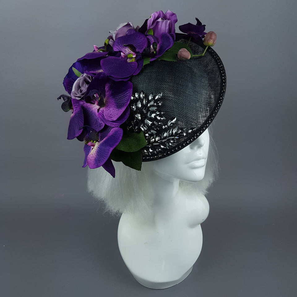 """Viola Profondo"" Deep Purple Flower & Jewel Black Hat"