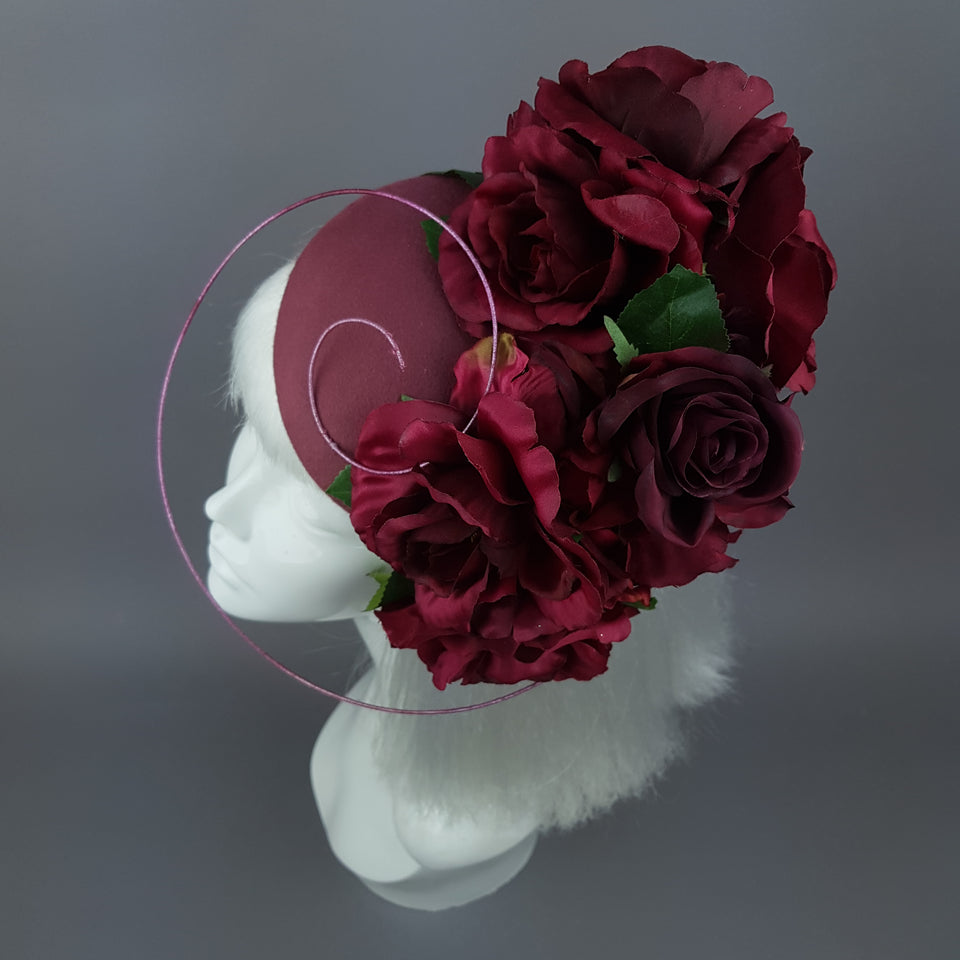 """Kaia"" Dark Dusky Pink Rose Fascinator Hat"