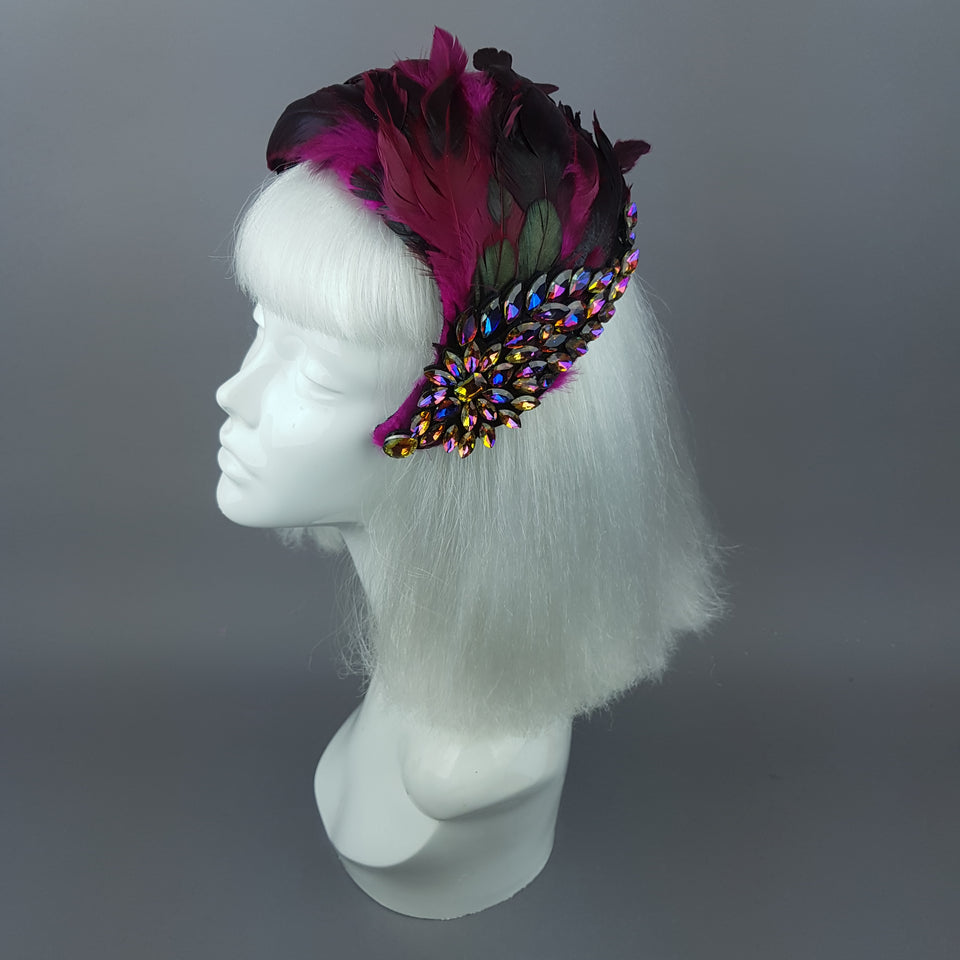 """Plume in Pink"" Vintage Inspired Feather & Jewel Fascinator"