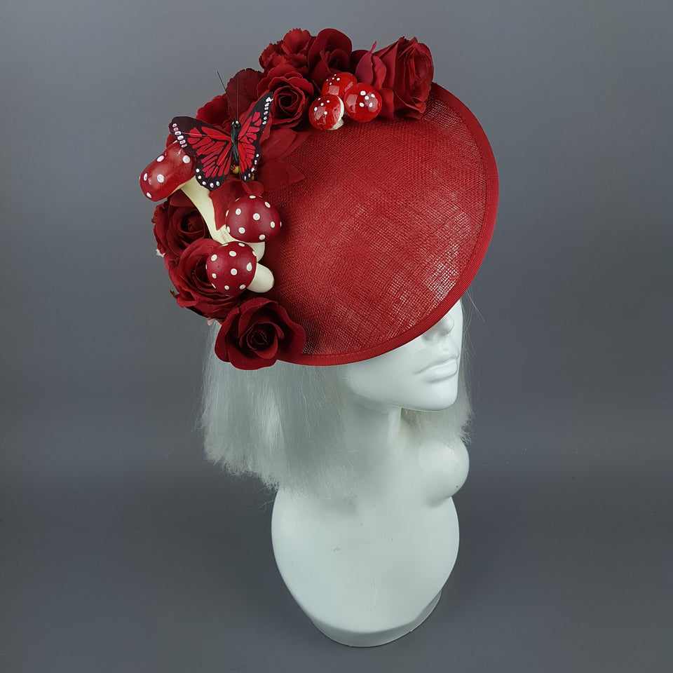 """Ellette"" Red Rose Butterfly Floral Mushroom Hat Fascinator"