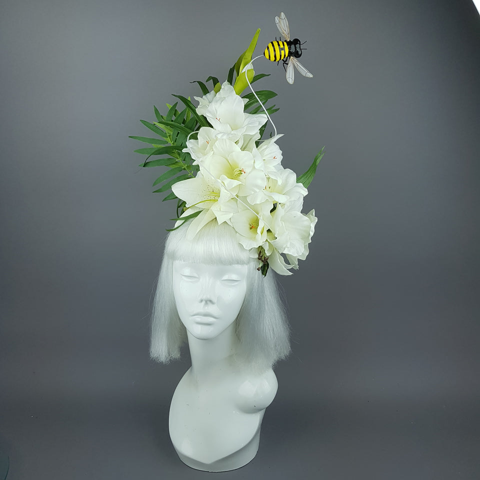 """Intensité"" Ivory Tropical Flower & Bee Headpiece"