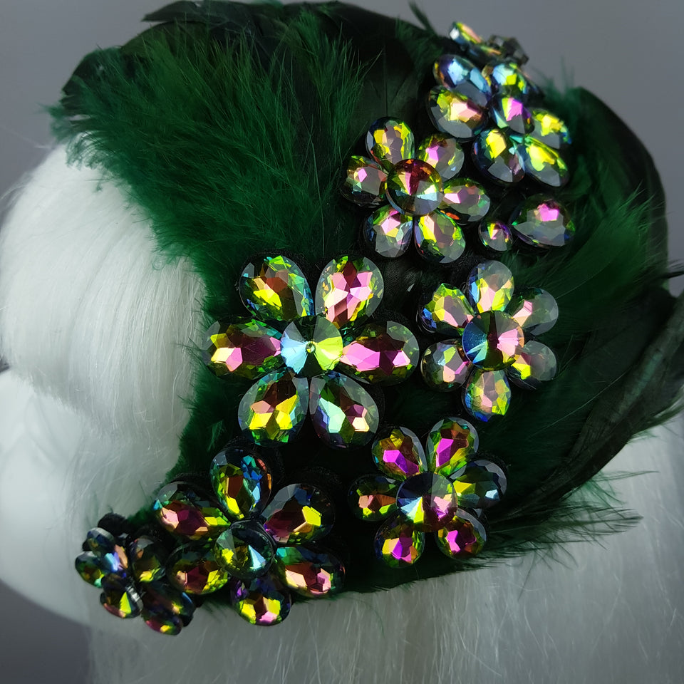 """Plume in Green"" Vintage Inspired Feather Jewel Fascinator Hat"