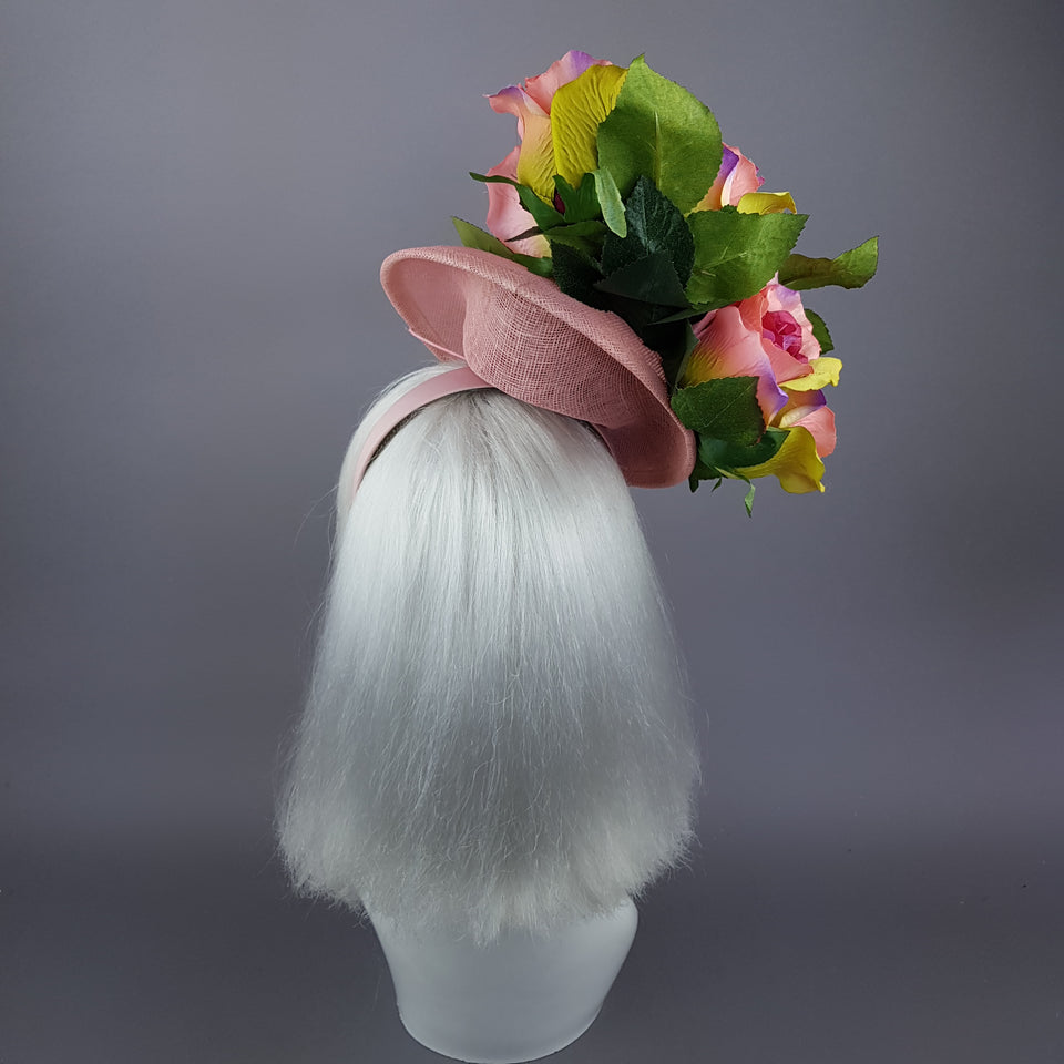 """Nevaeh"" Pink Rosebuds Flower & Bee Fascinator Hat"