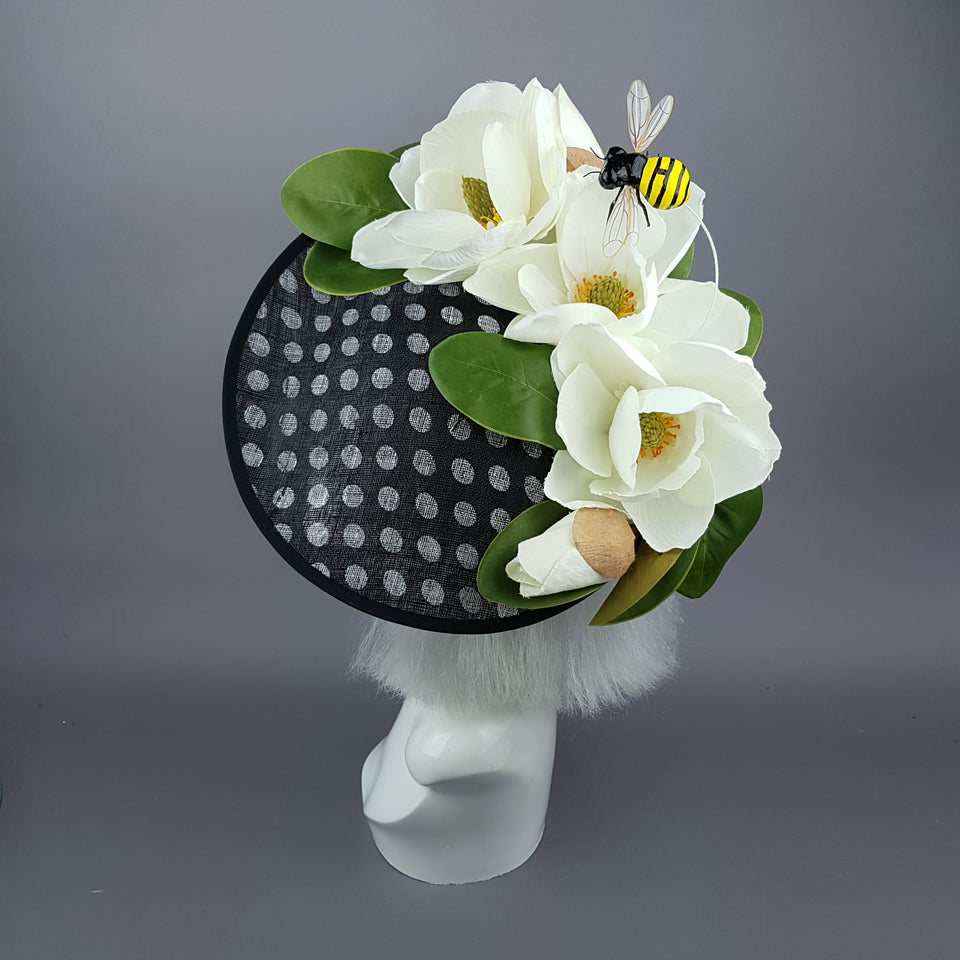 """Nissa"" Large Ivory Magnolia Flower & Bee Polka Dot Hat"