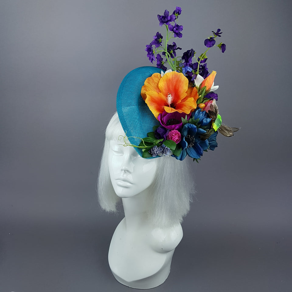 """Asteria"" Colourful Tropical Flower & Hummingbird Fascinator Hat"