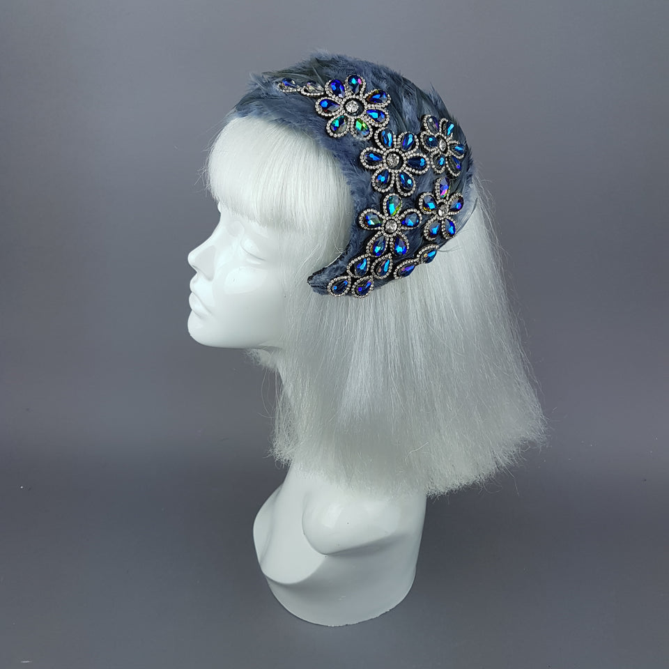 """Plume in Grey"" Vintage Inspired Feather & Jewel Fascinator"