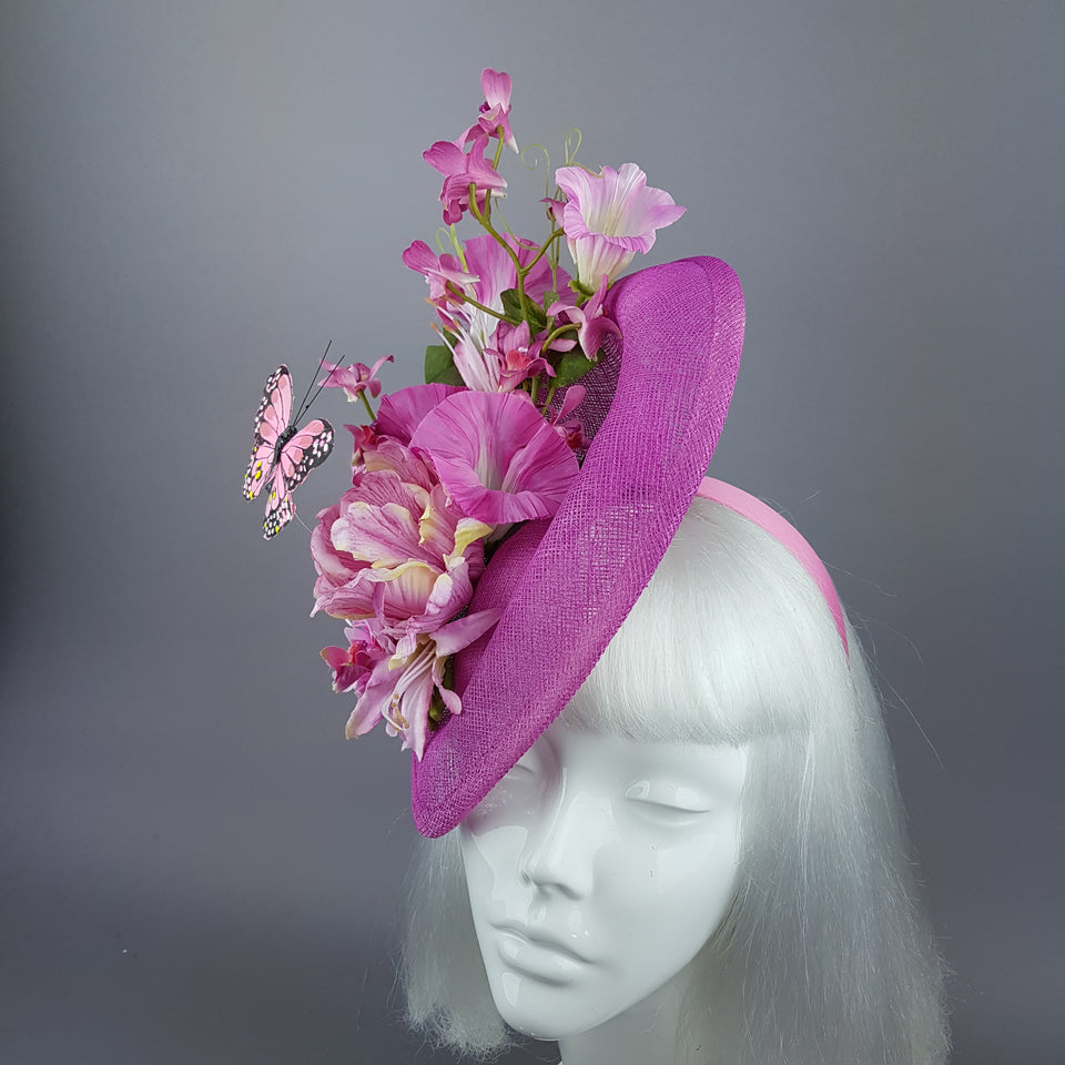 """Cyrena"" Pink Tropical Flowers & Butterfly Fascinator Hat"