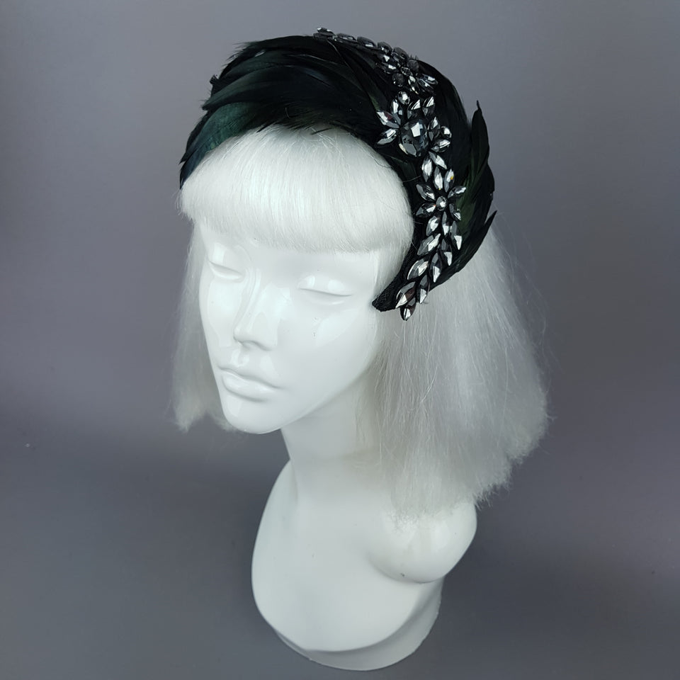 """Plume in Black"" Vintage Inspired Feather & Jewel Fascinator"