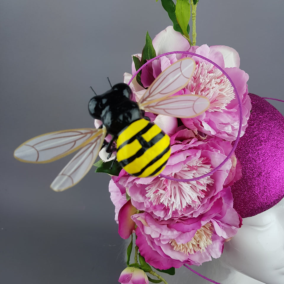 """Eglantine"" Pink Glitter Rose & Bee Fascinator"