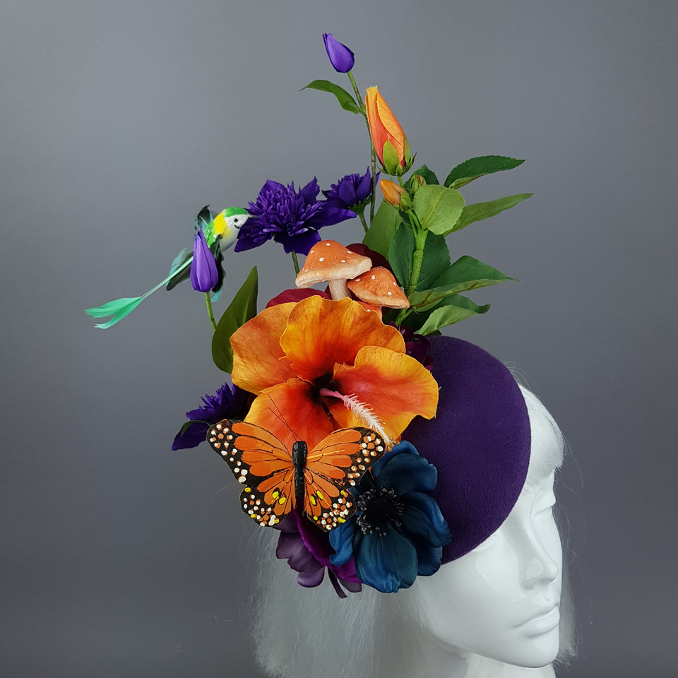 """Titania"" Colourful Flower & Hummingbird Fascinator"