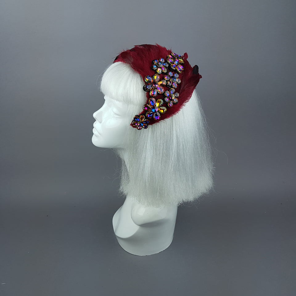 """Plume in Red"" Vintage Inspired Feather & Jewel Fascinator"