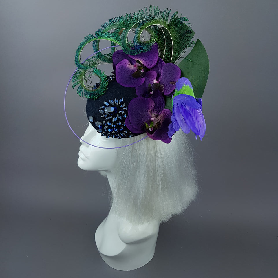 """Maraja"" Purple Orchid, Deep Blue Jewels, Peacock Feathers & Hummingbird Fascinator Hat"