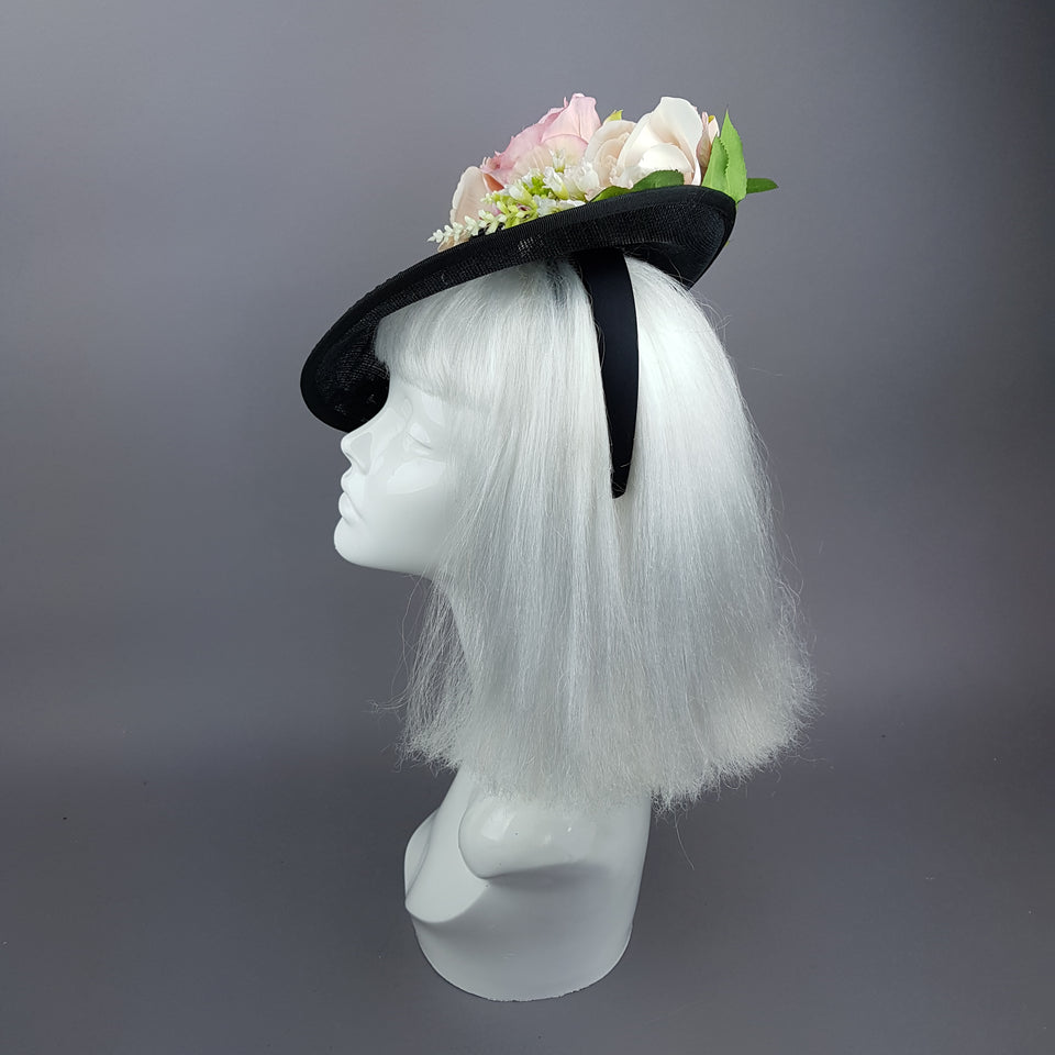 """Rougit"" Pink Roses Black Fascinator Hat With Jewels"