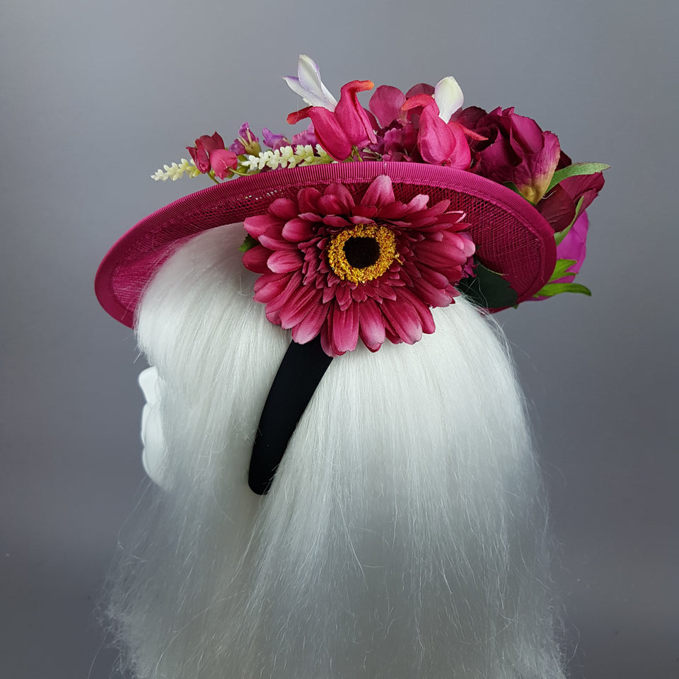 """Fleur"" Hot Pink Floral Jewel Fascinator Hat"