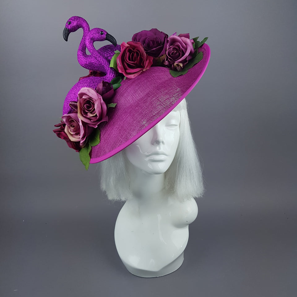 """Belle"" Fuchsia Pink Floral Hat with Flamingos"