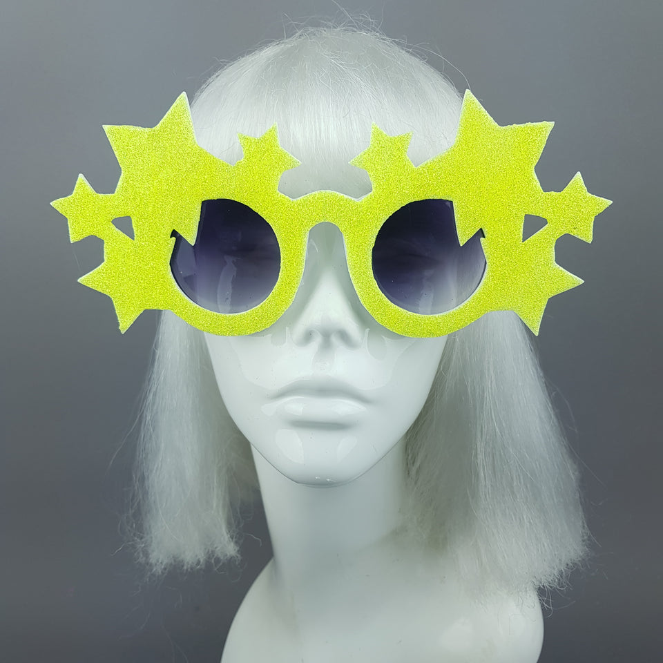 """Bright Star"" Neon Yellow Glitter Stars Sunglasses"
