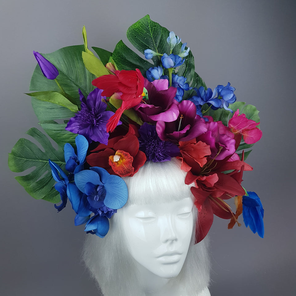 """Lilja"" Colourful Hummingbird & Tropical Flower Headdress"