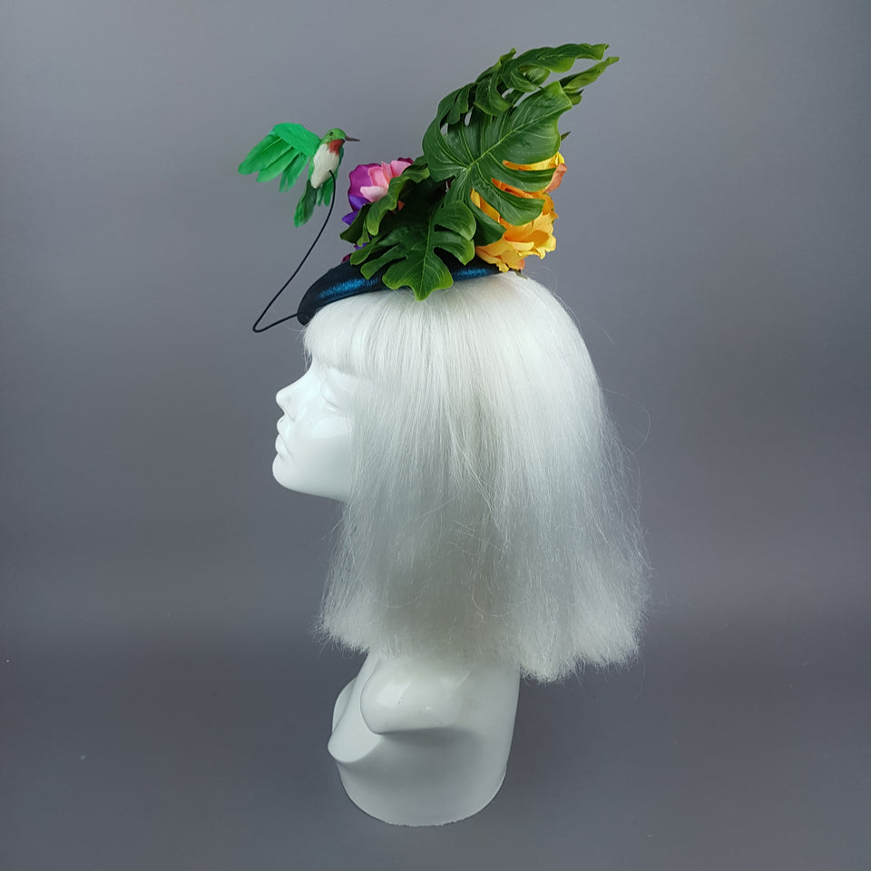 """Nectar"" Tropical Hummingbird Leaf Fascinator"