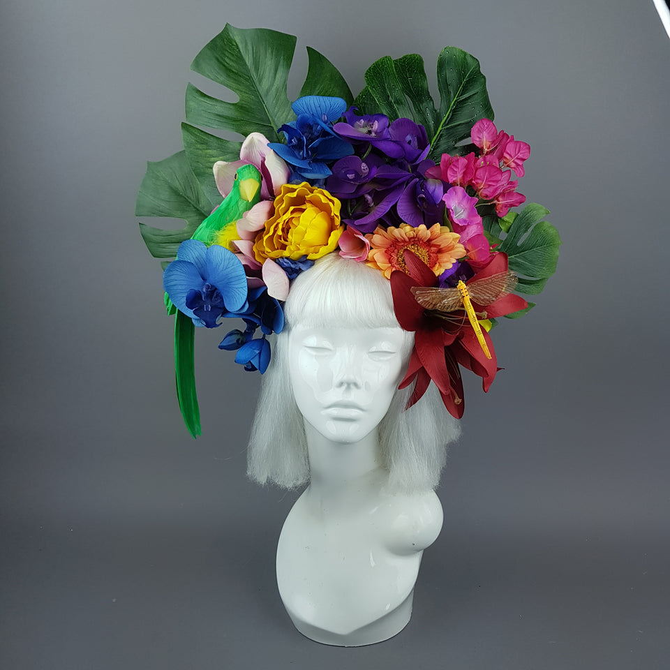 """Raumati"" Parrot & Bright Tropical Flower Headpiece"