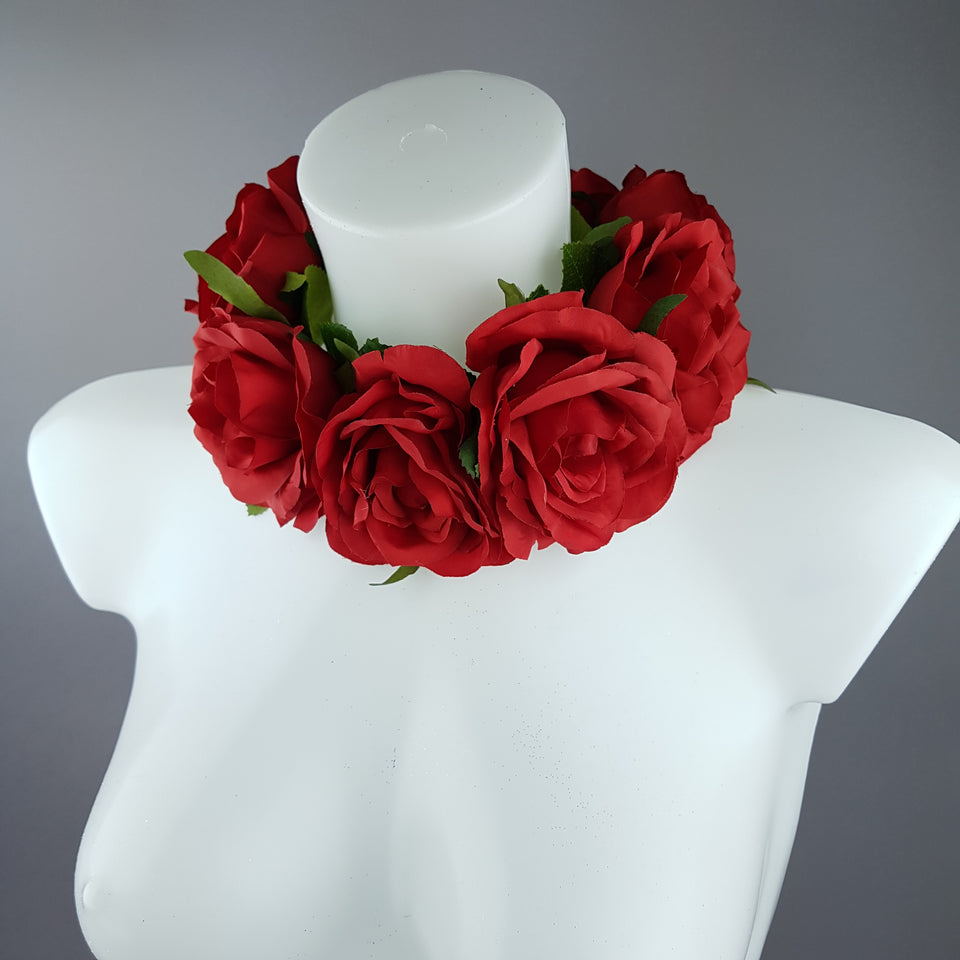 """Embrace"" Red Rose Collar Neckpiece"