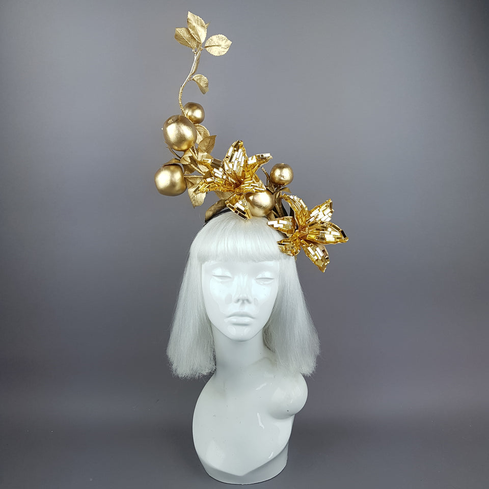 """Fleur de Pomme"" Apple & Gold Lily Headpiece"