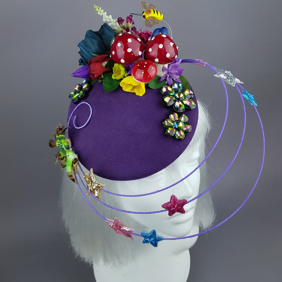 """Esperanza"" Colourful Flower, Mushrooms & Wired Veil Fascinator Hat"
