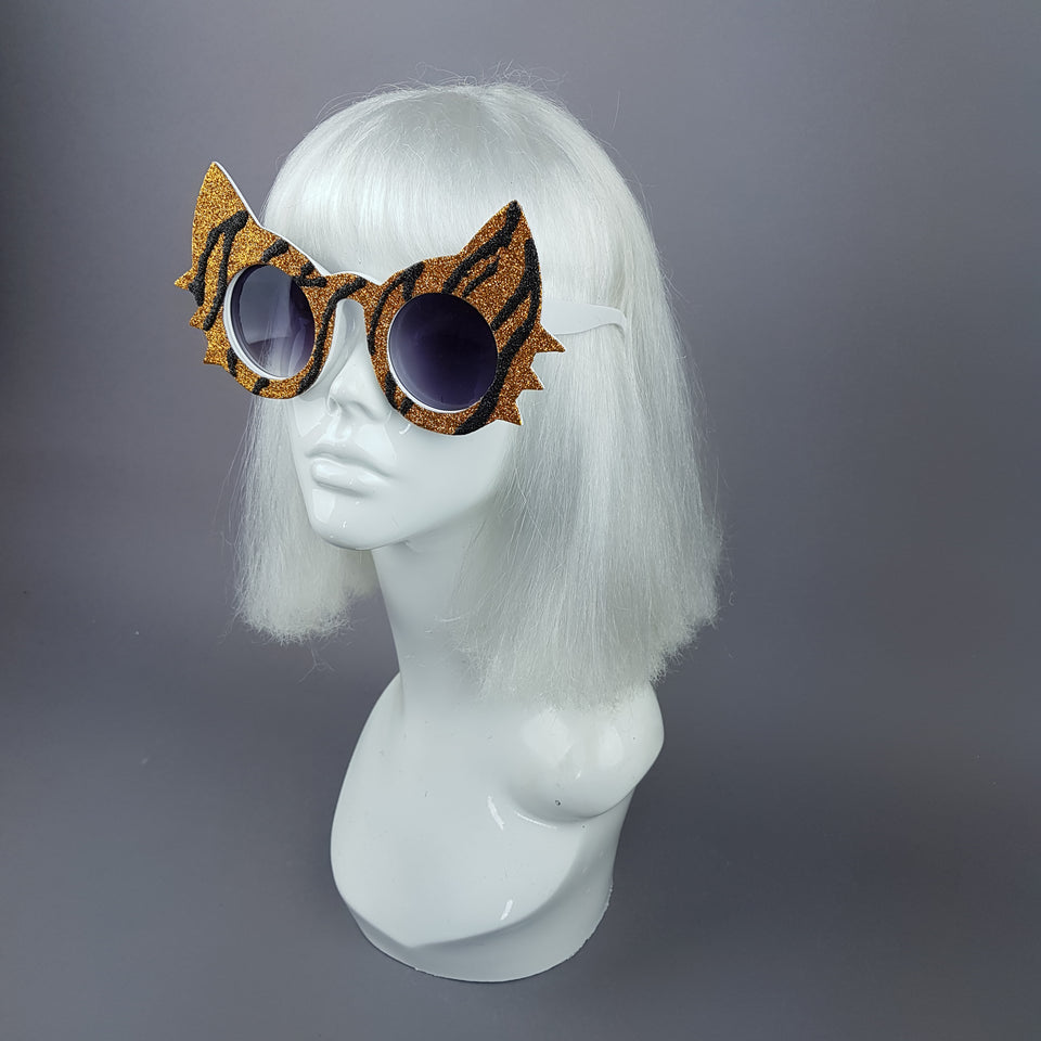 """Meowzer"" Tiger Stripe Glitter Cat Sunglasses"