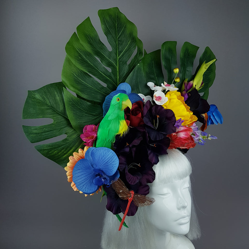 """Monsoon"" Colourful Parrot & Tropical Flower Headdress"