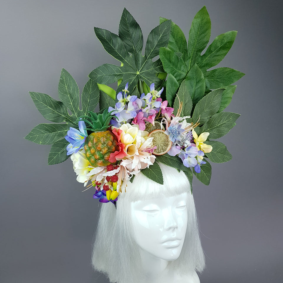 """Tuhinga"" Tropical Flower and Fruit Headpiece"
