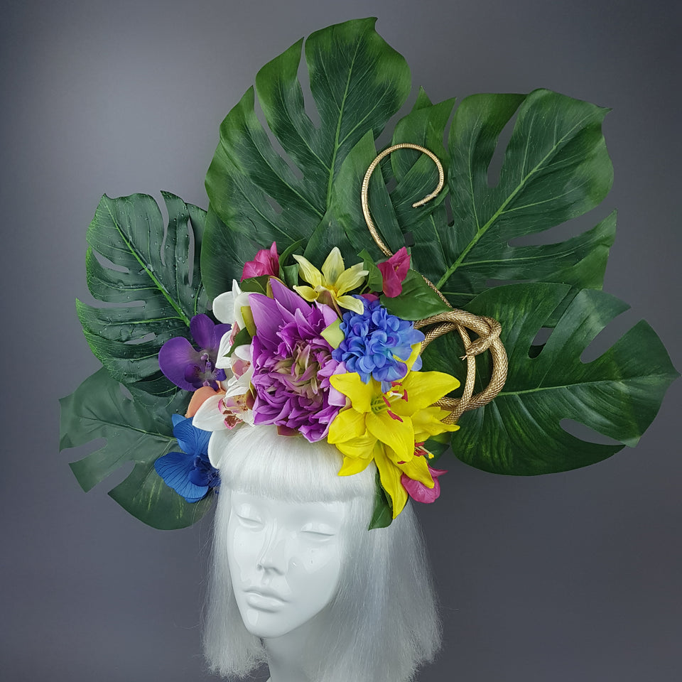 """Temptation"" Tropical Flower, Leaf & Gold Snake Headdress"