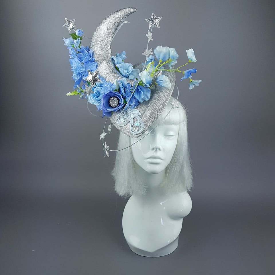 """Artemia"" Moon, Stars & Blue Flower Clouds Fascinator Hat"