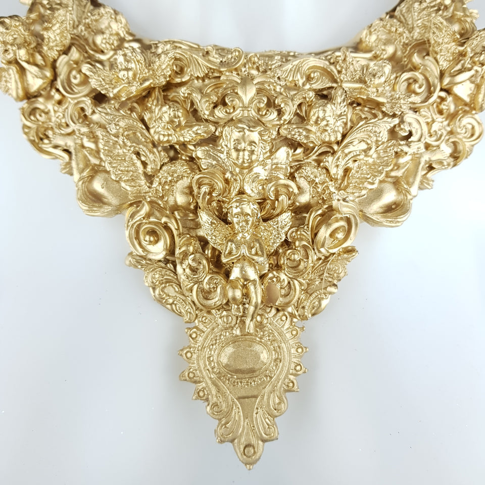 """Cielo"" Ornate Gold Filigree Cherub Neckpiece"