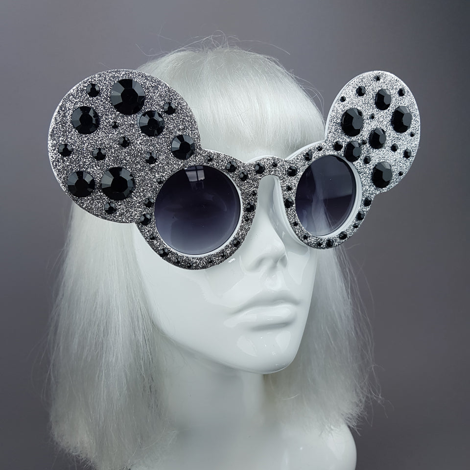 """Topo"" Silver & Black Gem Glitter Mouse Ear Sunglasses"