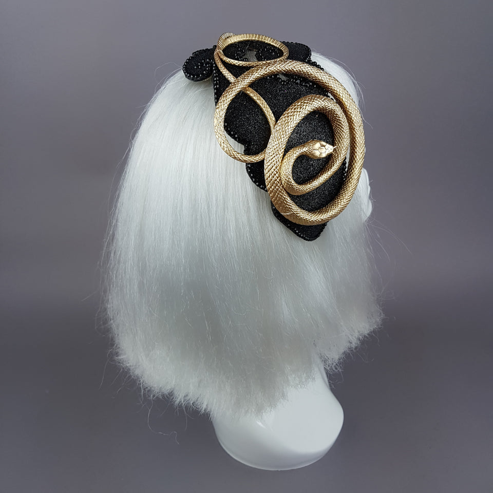 """Beguile"" Gold Snake Vintage Style Fascinator Hat"