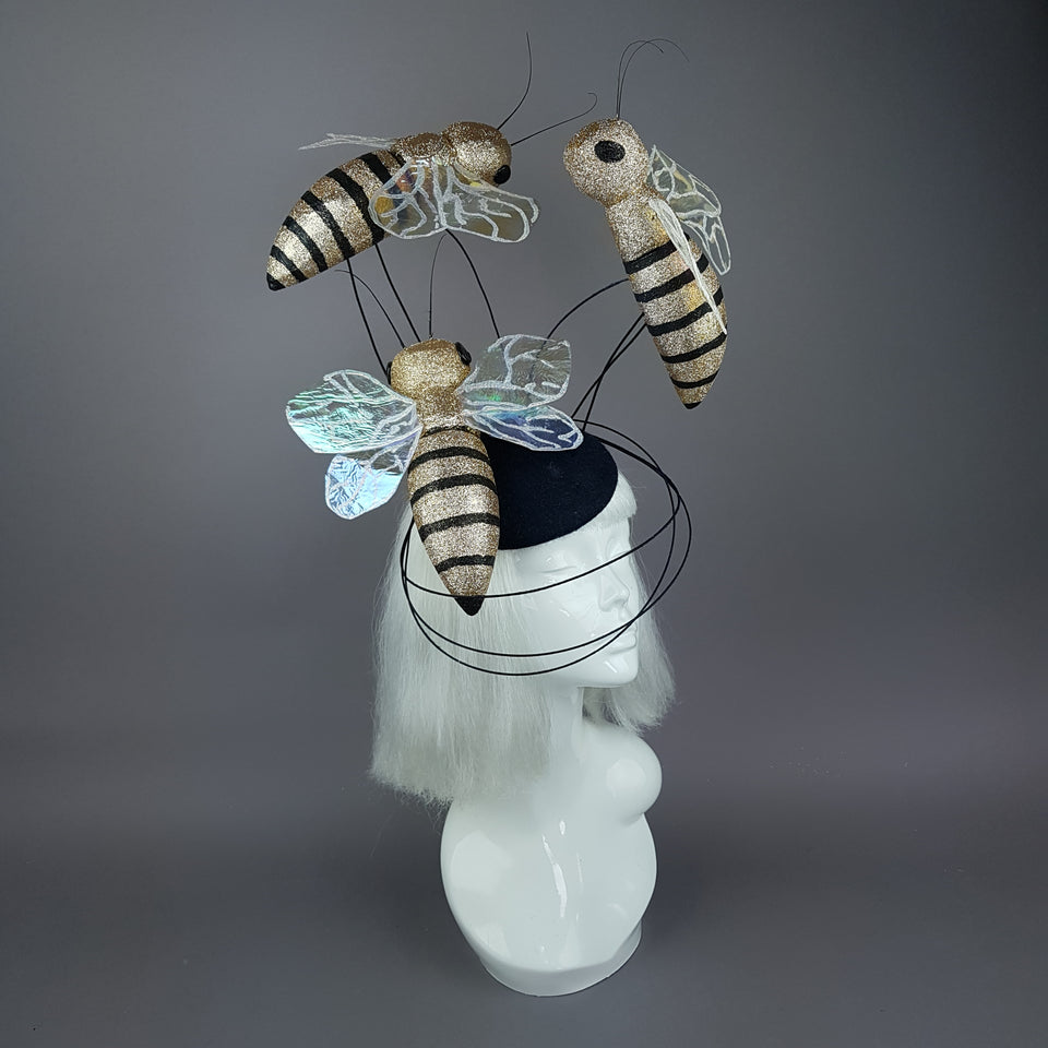 """Abella"" Giant Bees Wired Veil Fascinator Hat"